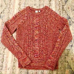 Like New Gap Multicolored Cable Knit Sweater
